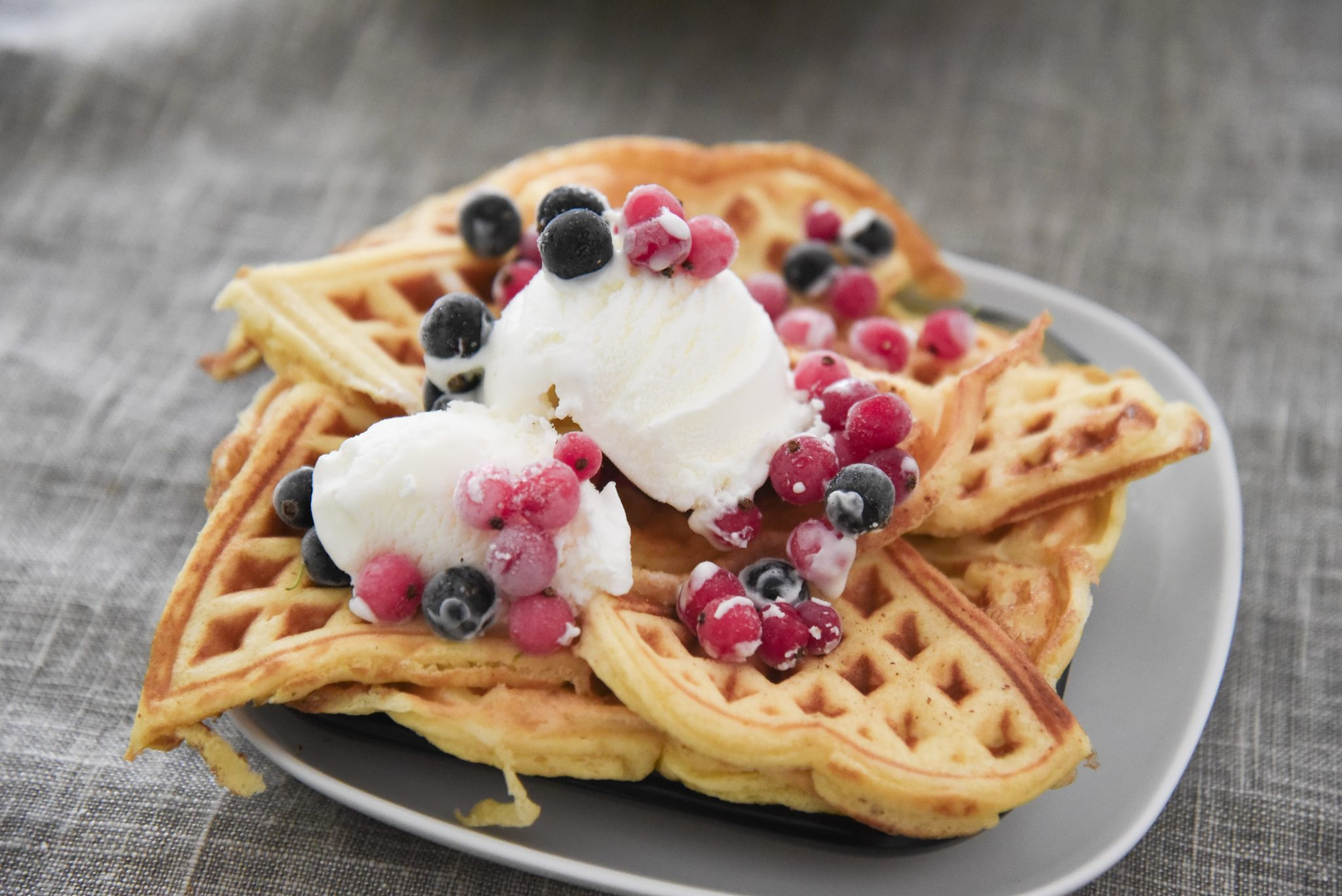 Guilt free waffles and cream